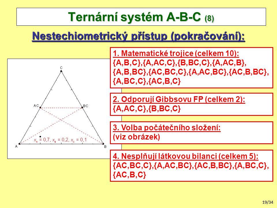 19/34 Nestechiometrický přístup (pokračování): Ternární systém A-B-C (8) 1.