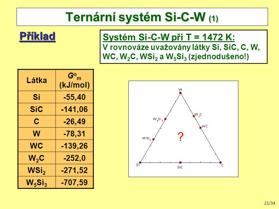 21/34 Ternární systém Si-C-W (1) Příklad Systém Si-C-W při T = 1472 K: V rovnováze uvažovány látky Si, SiC, C, W, WC, W 2 C, WSi 2 a W 5 Si 3 (zjednodušeno!) Látka G o m (kJ/mol) Si-55,40 SiC-141,06 C-26,49 W-78,31 WC-139,26 W2CW2C-252,0 WSi 2 -271,52 W 5 Si 3 -707,59