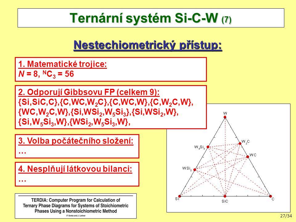 27/34 Ternární systém Si-C-W (7) Nestechiometrický přístup: 1.