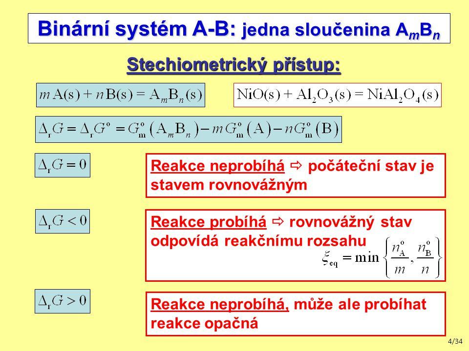 4/34 Reakce neprobíhá, může ale probíhat reakce opačná Binární systém A-B: jedna sloučenina A m B n Stechiometrický přístup: Reakce neprobíhá  počáteční stav je stavem rovnovážným Reakce probíhá  rovnovážný stav odpovídá reakčnímu rozsahu