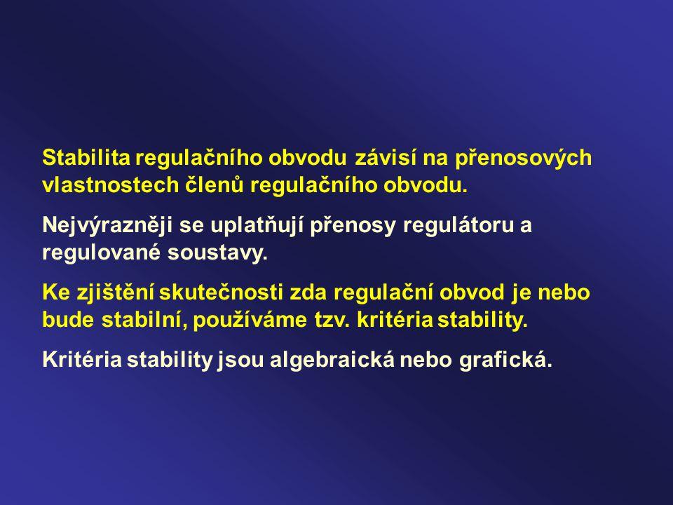 Stabilita regulačního obvodu závisí na přenosových vlastnostech členů regulačního obvodu.
