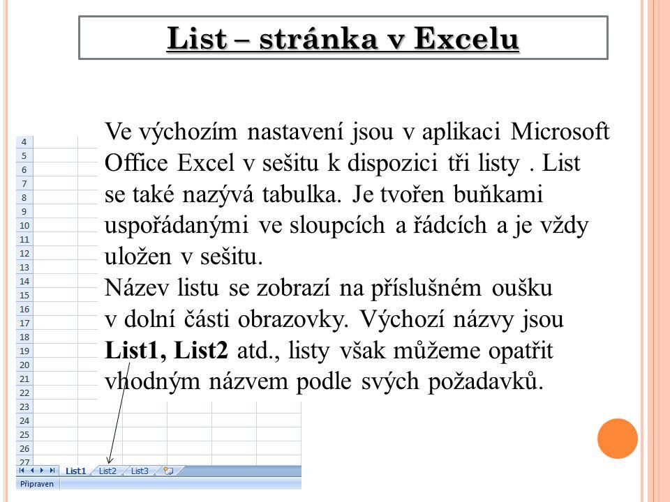 List – stránka v Excelu Ve výchozím nastavení jsou v aplikaci Microsoft Office Excel v sešitu k dispozici tři listy.