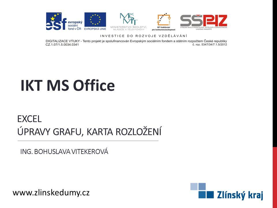 EXCEL ÚPRAVY GRAFU, KARTA ROZLOŽENÍ ING. BOHUSLAVA VITEKEROVÁ IKT MS Office www.zlinskedumy.cz