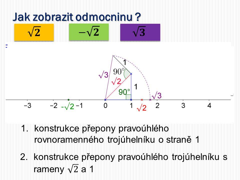 Jak zobrazit odmocninu 1.konstrukce přepony pravoúhlého rovnoramenného trojúhelníku o straně 1