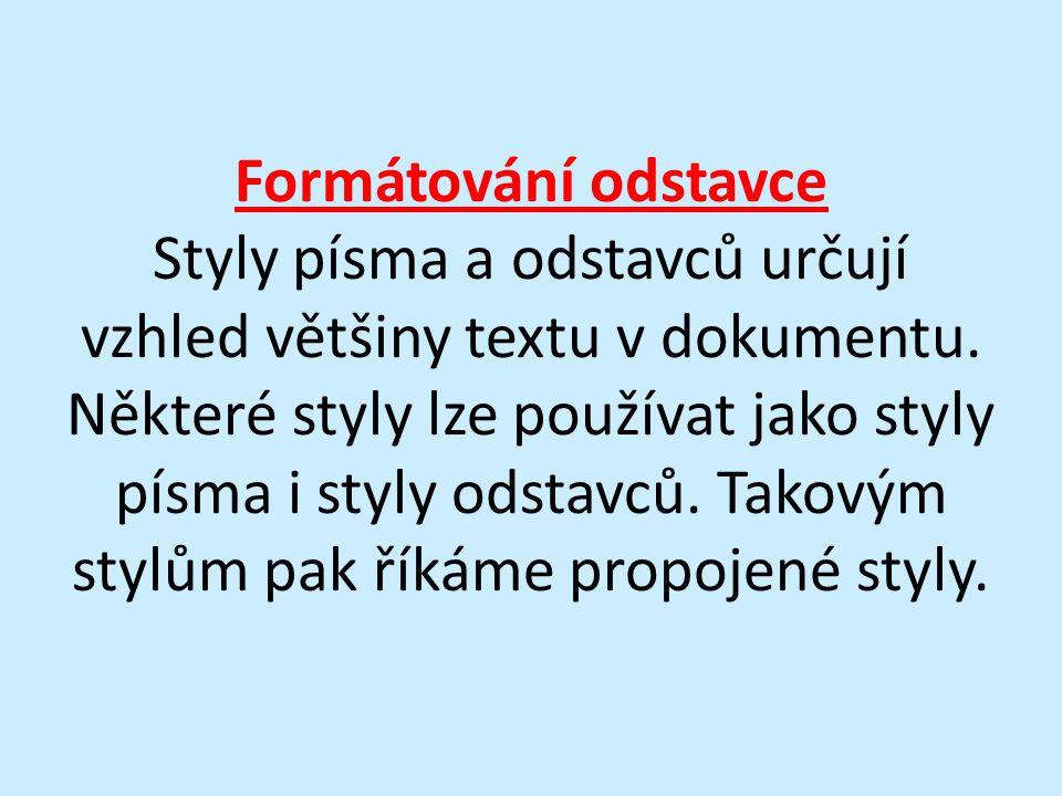 Formátování odstavce Styly písma a odstavců určují vzhled většiny textu v dokumentu. Některé styly lze používat jako styly písma i styly odstavců. Tak