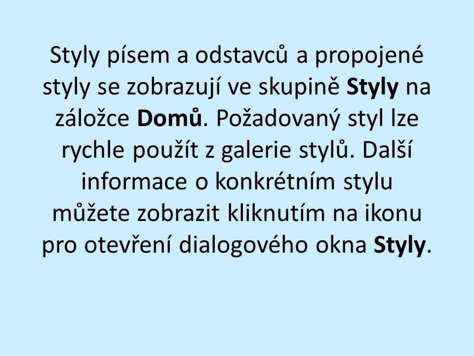 Záložka Styly v MS Word