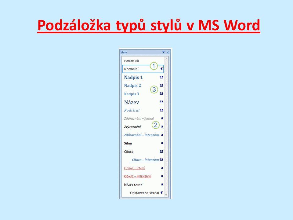 Podzáložka typů stylů v MS Word