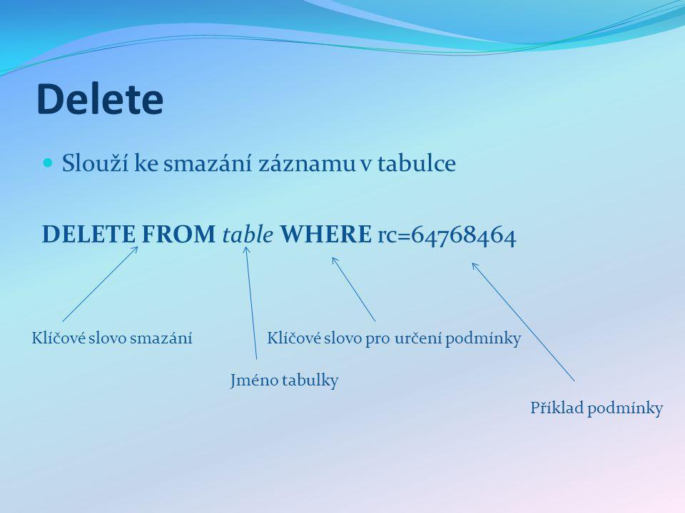 Delete Slouží ke smazání záznamu v tabulce DELETE FROM table WHERE rc=64768464 Klíčové slovo smazání Jméno tabulky Klíčové slovo pro určení podmínky Příklad podmínky