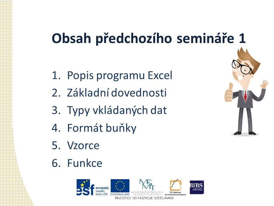 Obsah předchozího semináře 1 1.Popis programu Excel 2.Základní dovednosti 3.Typy vkládaných dat 4.Formát buňky 5.Vzorce 6.Funkce
