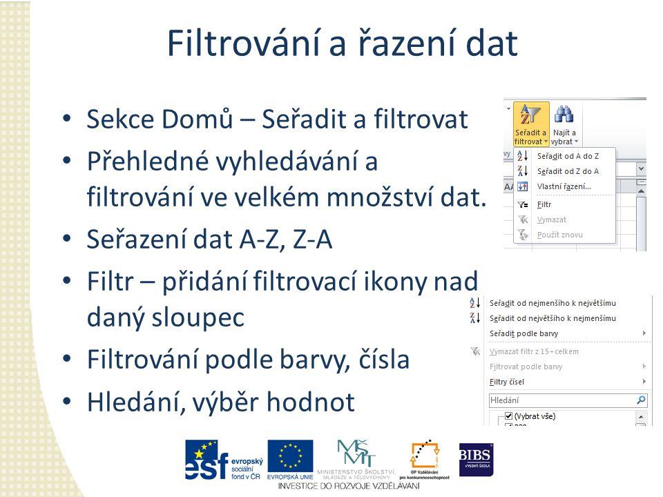 Filtrování a řazení dat Sekce Domů – Seřadit a filtrovat Přehledné vyhledávání a filtrování ve velkém množství dat.