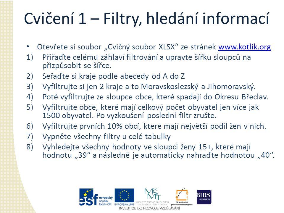 """Cvičení 1 – Filtry, hledání informací Otevřete si soubor """"Cvičný soubor XLSX ze stránek www.kotlik.orgwww.kotlik.org 1)Přiřaďte celému záhlaví filtrování a upravte šířku sloupců na přizpůsobit se šířce."""