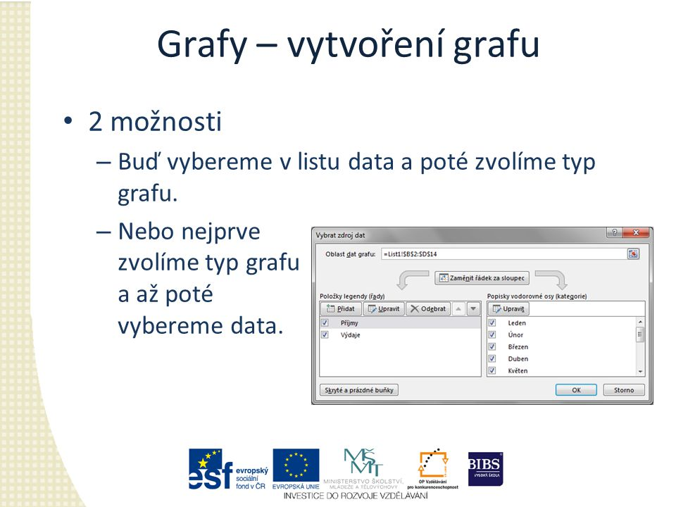 Grafy – vytvoření grafu 2 možnosti – Buď vybereme v listu data a poté zvolíme typ grafu.