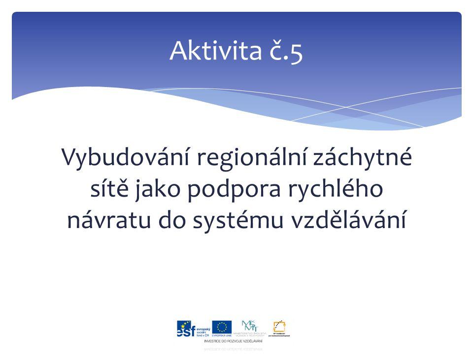 Vybudování regionální záchytné sítě jako podpora rychlého návratu do systému vzdělávání Aktivita č.5