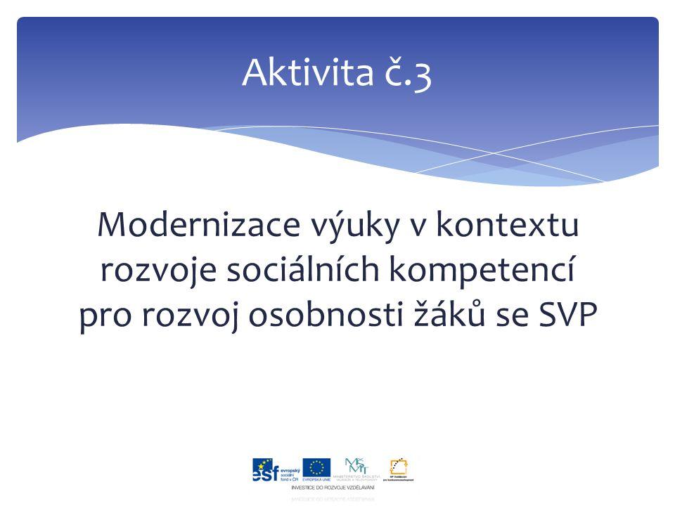 Modernizace výuky v kontextu rozvoje sociálních kompetencí pro rozvoj osobnosti žáků se SVP Aktivita č.3