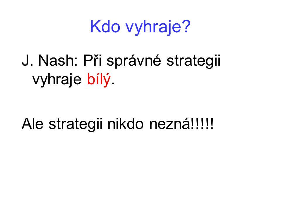 Kdo vyhraje? J. Nash: Při správné strategii vyhraje bílý. Ale strategii nikdo nezná!!!!!