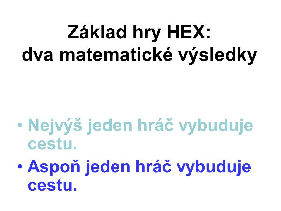 Základ hry HEX: dva matematické výsledky Nejvýš jeden hráč vybuduje cestu. Aspoň jeden hráč vybuduje cestu.