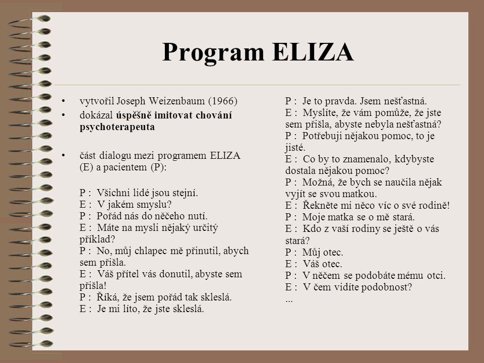 Program ELIZA vytvořil Joseph Weizenbaum (1966) dokázal úspěšně imitovat chování psychoterapeuta část dialogu mezi programem ELIZA (E) a pacientem (P)