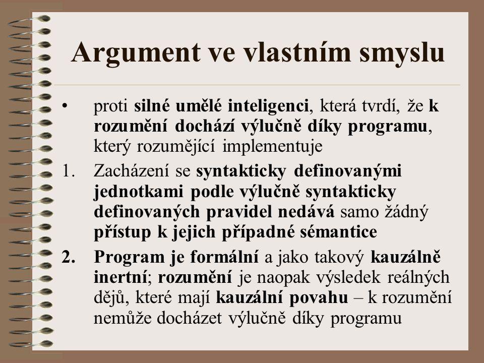 Argument ve vlastním smyslu proti silné umělé inteligenci, která tvrdí, že k rozumění dochází výlučně díky programu, který rozumějící implementuje 1.Z