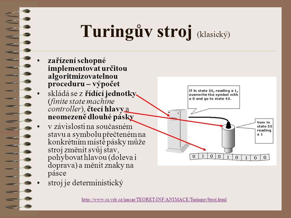 Turingův stroj (klasický) zařízení schopné implementovat určitou algoritmizovatelnou proceduru – výpočet skládá se z řídící jednotky (finite state mac