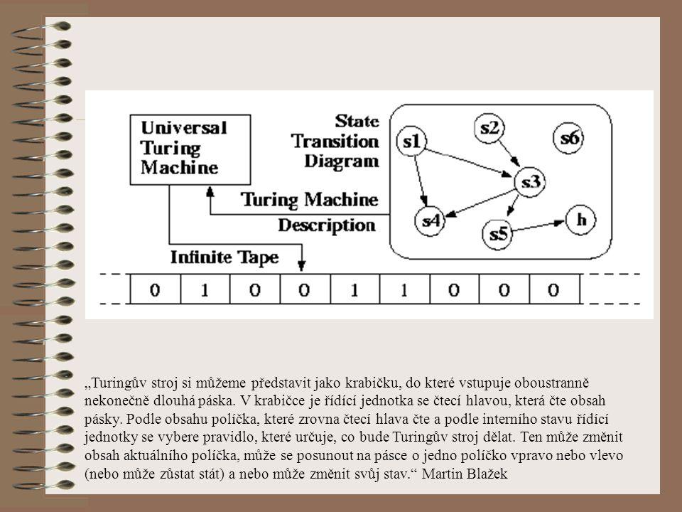 """""""Turingův stroj si můžeme představit jako krabičku, do které vstupuje oboustranně nekonečně dlouhá páska. V krabičce je řídící jednotka se čtecí hlavo"""