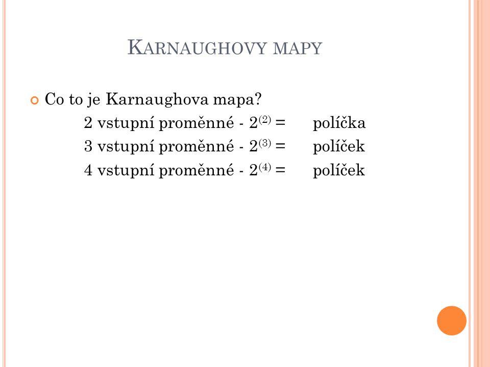 K ARNAUGHOVY MAPY Co to je Karnaughova mapa? 2 vstupní proměnné - 2 (2) = políčka 3 vstupní proměnné - 2 (3) = políček 4 vstupní proměnné - 2 (4) = po