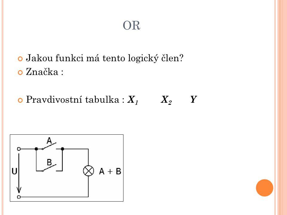 OR Jakou funkci má tento logický člen? Značka : Pravdivostní tabulka : X 1 X 2 Y