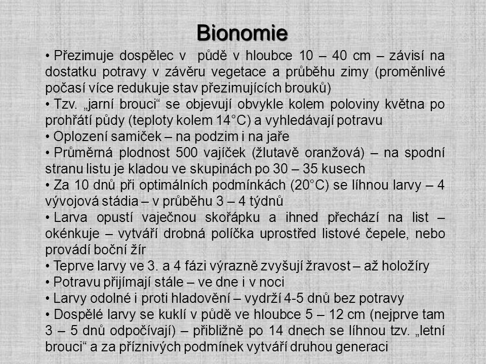 Bionomie Přezimuje dospělec v půdě v hloubce 10 – 40 cm – závisí na dostatku potravy v závěru vegetace a průběhu zimy (proměnlivé počasí více redukuje