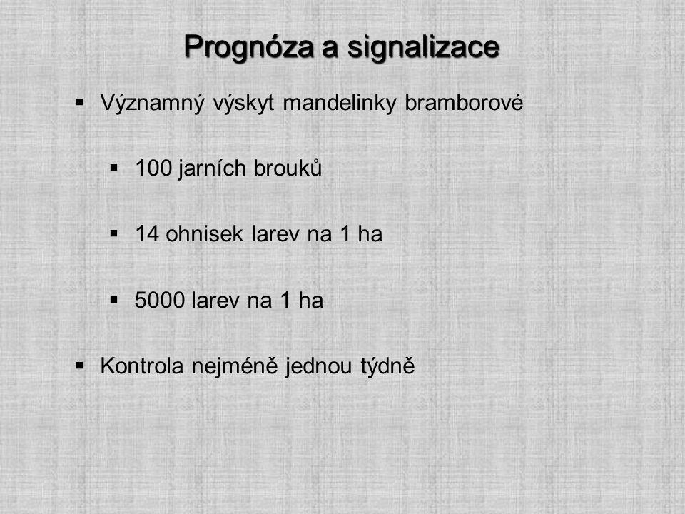 Prognóza a signalizace  Významný výskyt mandelinky bramborové  100 jarních brouků  14 ohnisek larev na 1 ha  5000 larev na 1 ha  Kontrola nejméně
