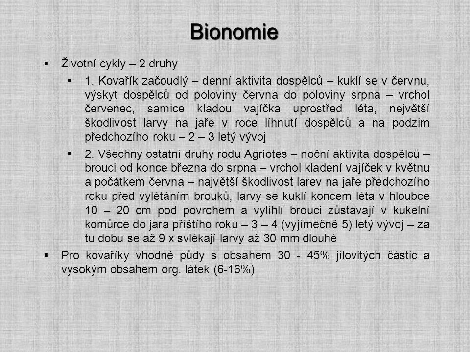 Bionomie  Životní cykly – 2 druhy  1. Kovařík začoudlý – denní aktivita dospělců – kuklí se v červnu, výskyt dospělců od poloviny června do poloviny
