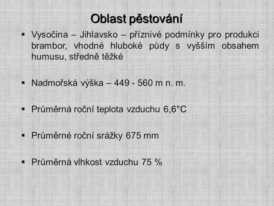 Oblast pěstování  Vysočina – Jihlavsko – příznivé podmínky pro produkci brambor, vhodné hluboké půdy s vyšším obsahem humusu, středně těžké  Nadmořs