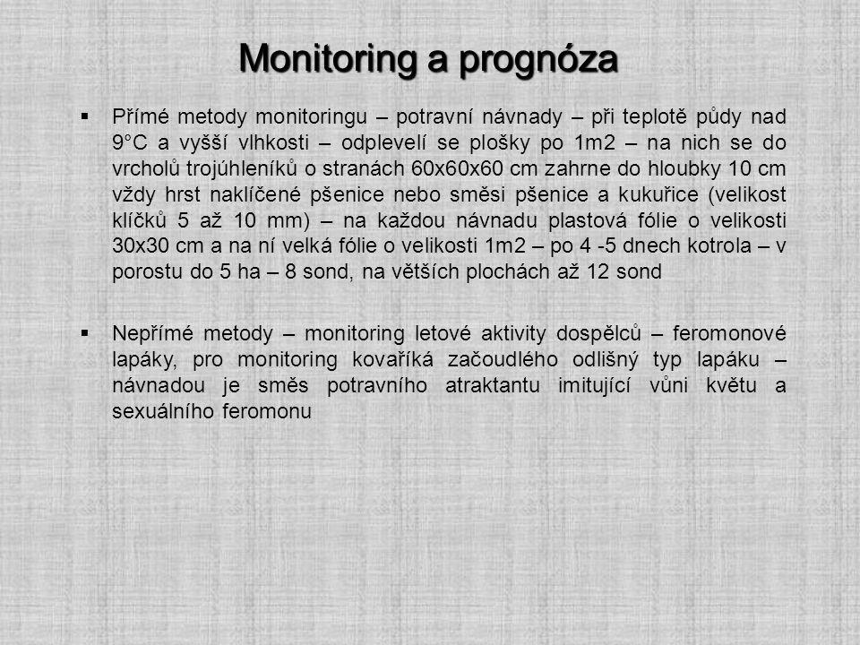 Monitoring a prognóza  Přímé metody monitoringu – potravní návnady – při teplotě půdy nad 9°C a vyšší vlhkosti – odplevelí se plošky po 1m2 – na nich