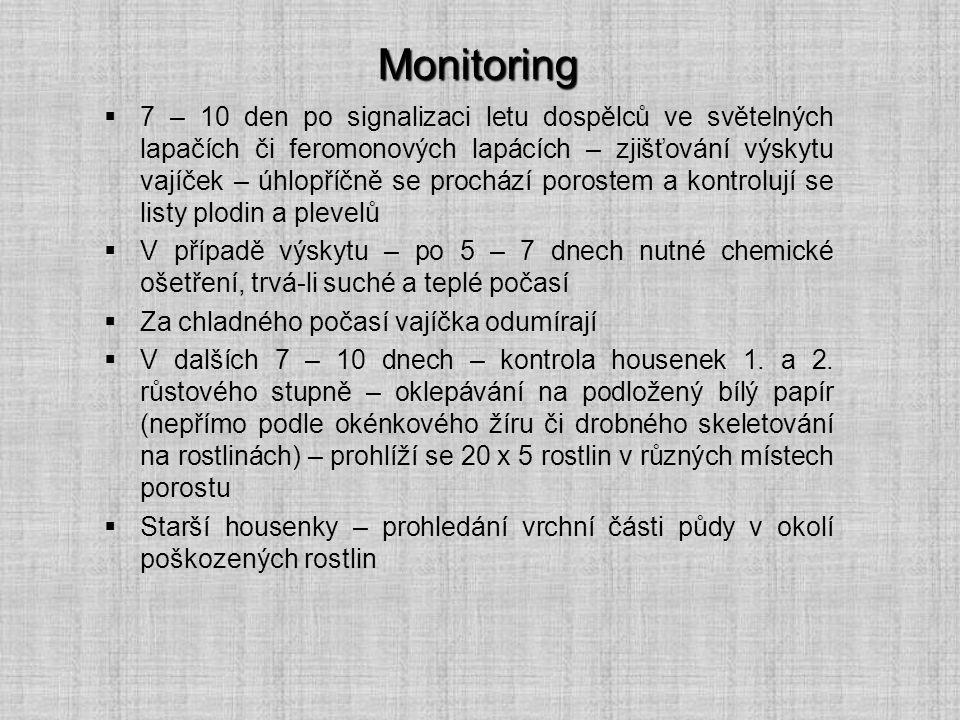 Monitoring  7 – 10 den po signalizaci letu dospělců ve světelných lapačích či feromonových lapácích – zjišťování výskytu vajíček – úhlopříčně se proc