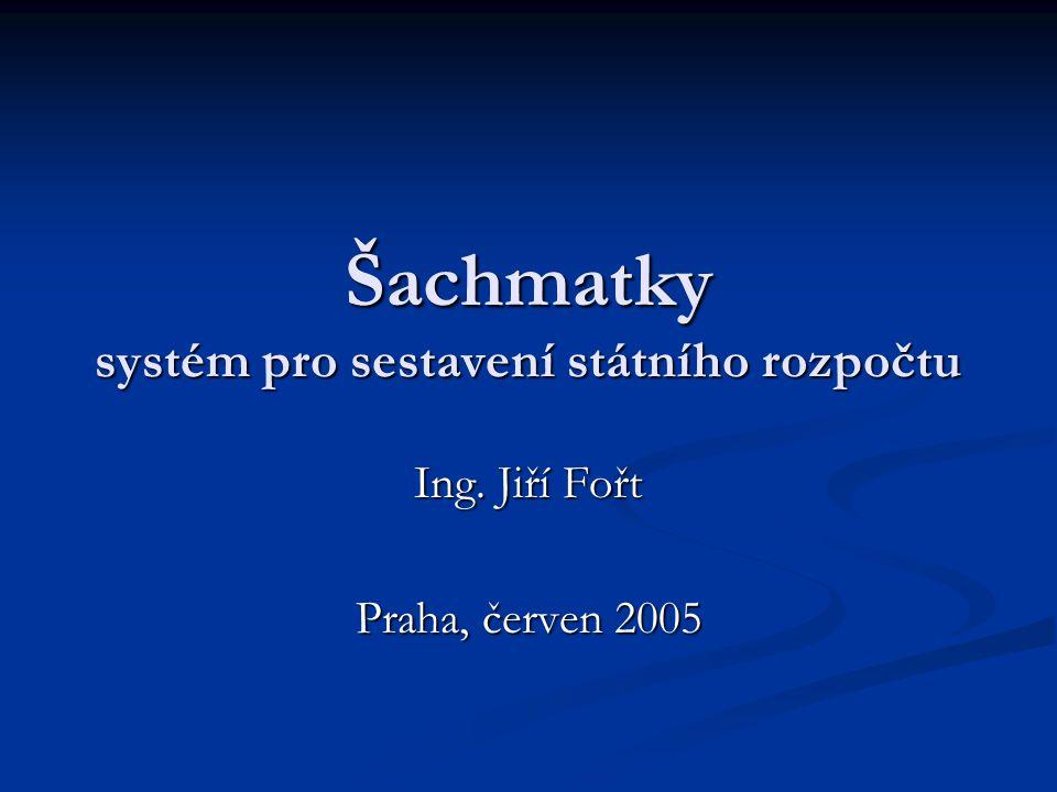 Šachmatky systém pro sestavení státního rozpočtu Ing. Jiří Fořt Praha, červen 2005