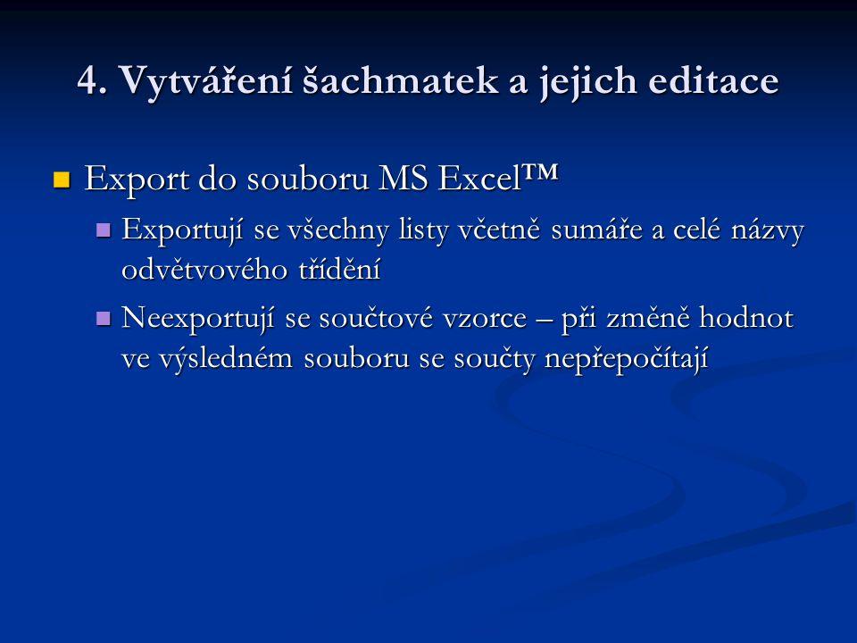 4. Vytváření šachmatek a jejich editace Export do souboru MS Excel™ Export do souboru MS Excel™ Exportují se všechny listy včetně sumáře a celé názvy