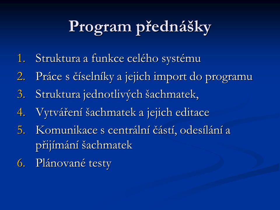 Program přednášky 1.Struktura a funkce celého systému 2.Práce s číselníky a jejich import do programu 3.Struktura jednotlivých šachmatek, 4.Vytváření