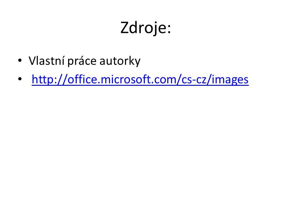Zdroje: Vlastní práce autorky http://office.microsoft.com/cs-cz/images