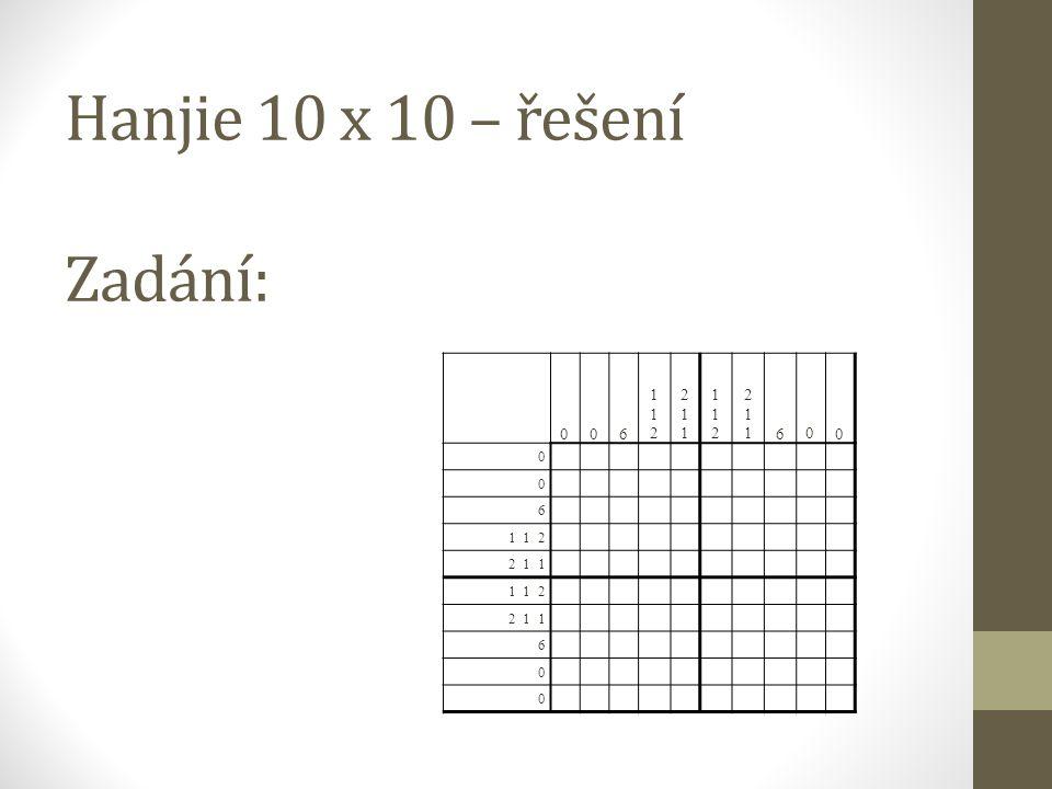 Hanjie 10 x 10 – řešení Zadání: 0 0 6 112112 211211 112112 211211 60 0 0 0 6 1 1 2 2 1 1 1 1 2 2 1 1 6 0 0