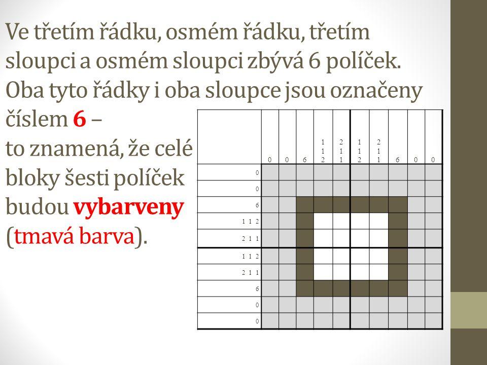 Ve třetím řádku, osmém řádku, třetím sloupci a osmém sloupci zbývá 6 políček.