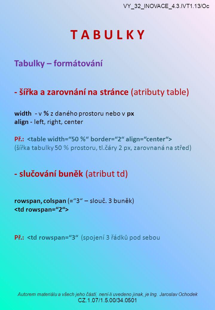 VY_32_INOVACE_4.3.IVT1.13/Oc Autorem materiálu a všech jeho částí, není-li uvedeno jinak, je Ing.