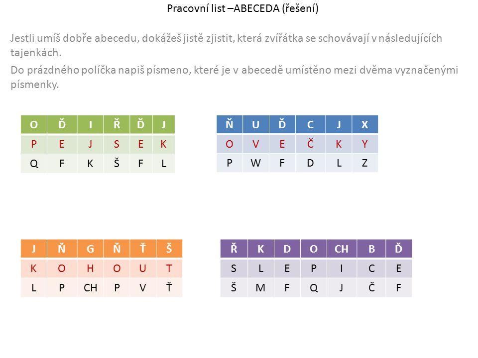 Pracovní list –ABECEDA (řešení) Jestli umíš dobře abecedu, dokážeš jistě zjistit, která zvířátka se schovávají v následujících tajenkách. Do prázdného