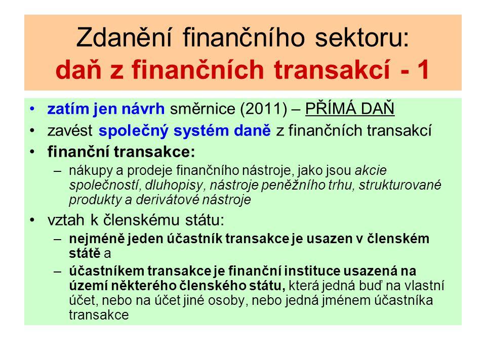 Zdanění finančního sektoru: daň z finančních transakcí - 1 zatím jen návrh směrnice (2011) – PŘÍMÁ DAŇ zavést společný systém daně z finančních transakcí finanční transakce: –nákupy a prodeje finančního nástroje, jako jsou akcie společností, dluhopisy, nástroje peněžního trhu, strukturované produkty a derivátové nástroje vztah k členskému státu: –nejméně jeden účastník transakce je usazen v členském státě a –účastníkem transakce je finanční instituce usazená na území některého členského státu, která jedná buď na vlastní účet, nebo na účet jiné osoby, nebo jedná jménem účastníka transakce