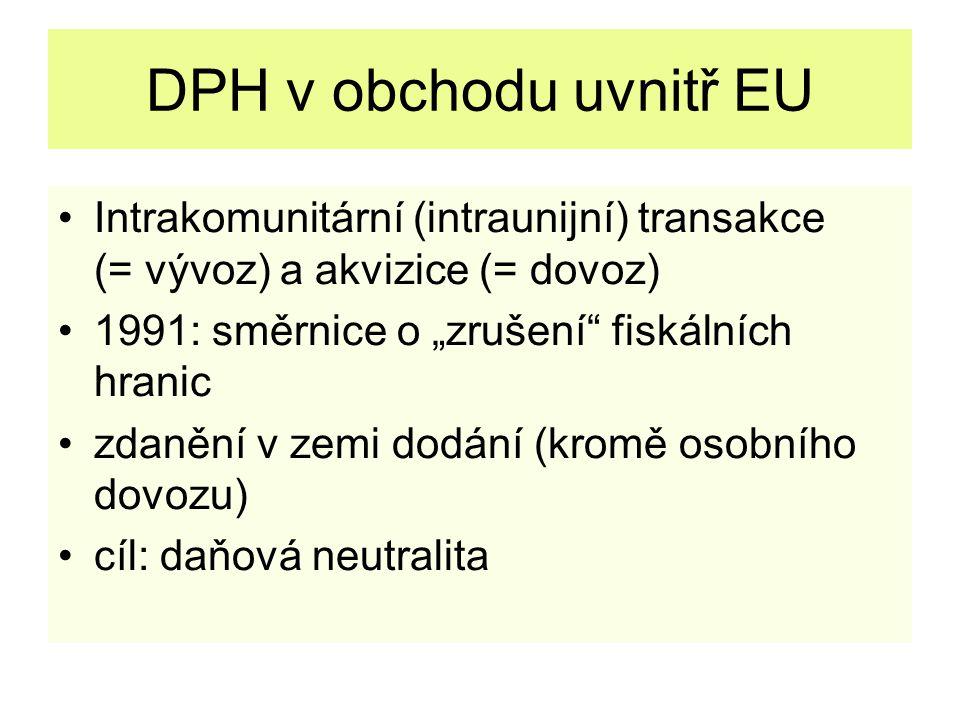 """DPH v obchodu uvnitř EU Intrakomunitární (intraunijní) transakce (= vývoz) a akvizice (= dovoz) 1991: směrnice o """"zrušení fiskálních hranic zdanění v zemi dodání (kromě osobního dovozu) cíl: daňová neutralita"""