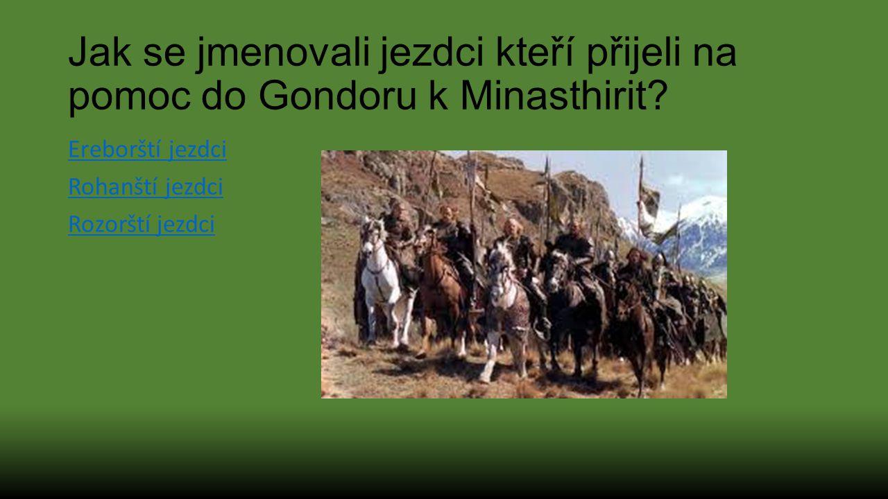 Jak se jmenovali jezdci kteří přijeli na pomoc do Gondoru k Minasthirit? Ereborští jezdci Rohanští jezdci Rozorští jezdci