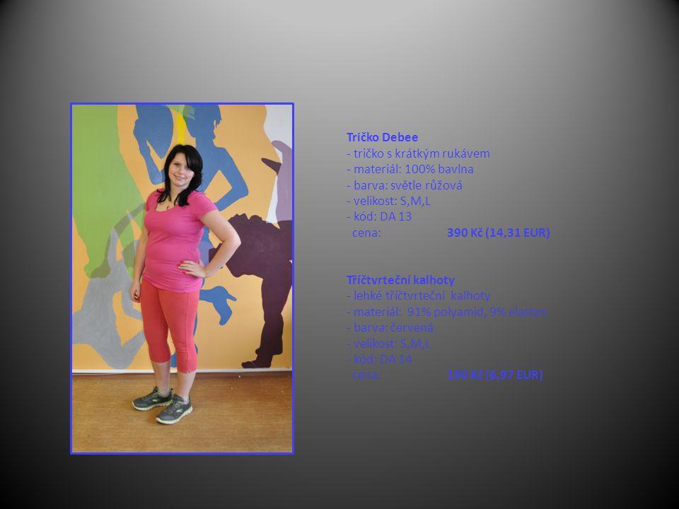 Tričko Debee - tričko s krátkým rukávem - materiál: 100% bavlna - barva: světle růžová - velikost: S,M,L - kód: DA 13 cena: 390 Kč (14,31 EUR) Tříčtvrteční kalhoty - lehké tříčtvrteční kalhoty - materiál: 91% polyamid, 9% elastan - barva: červená - velikost: S,M,L - kód: DA 14 cena: 190 Kč (6,97 EUR)