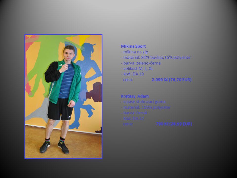 Mikina Sport - mikina na zip - materiál: 84% bavlna,16% polyester - barva: zeleno-černá - velikost M, L, XL - kód: DA 19 cena: 2.090 Kč (76,70 EUR) Kraťasy Adam - v pase stahovací guma - materiál: 100% polyester - barva: černá - kód: DA 22 cena: 790 Kč (28,99 EUR)