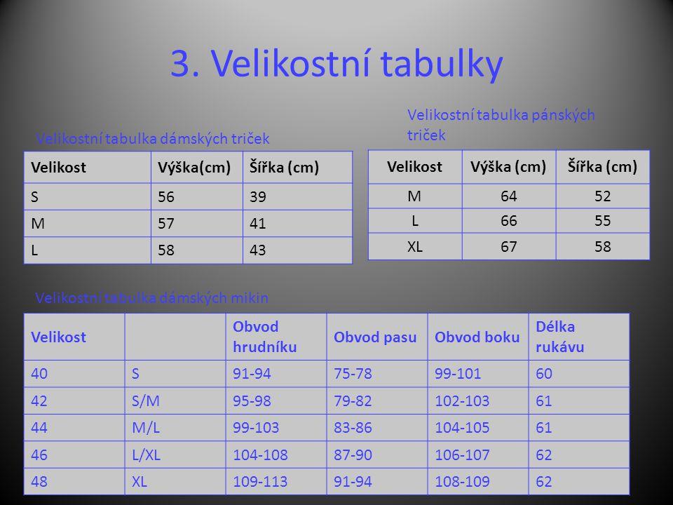 3. Velikostní tabulky VelikostVýška(cm)Šířka (cm) S5639 M5741 L5843 Velikostní tabulka dámských triček VelikostVýška (cm)Šířka (cm) M6452 L6655 XL6758