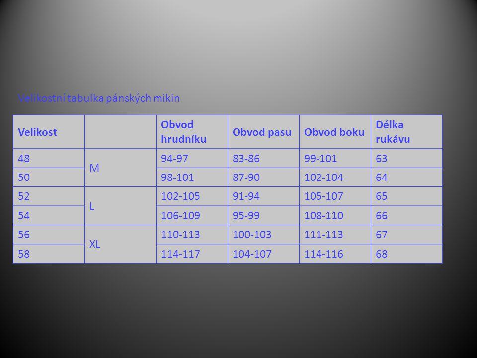Velikost Obvod hrudníku Obvod pasuObvod boku Délka rukávu 48 M 94-9783-8699-10163 5098-10187-90102-10464 52 L 102-10591-94105-10765 54106-10995-99108-11066 56 XL 110-113100-103111-11367 58114-117104-107114-11668 Velikostní tabulka pánských mikin