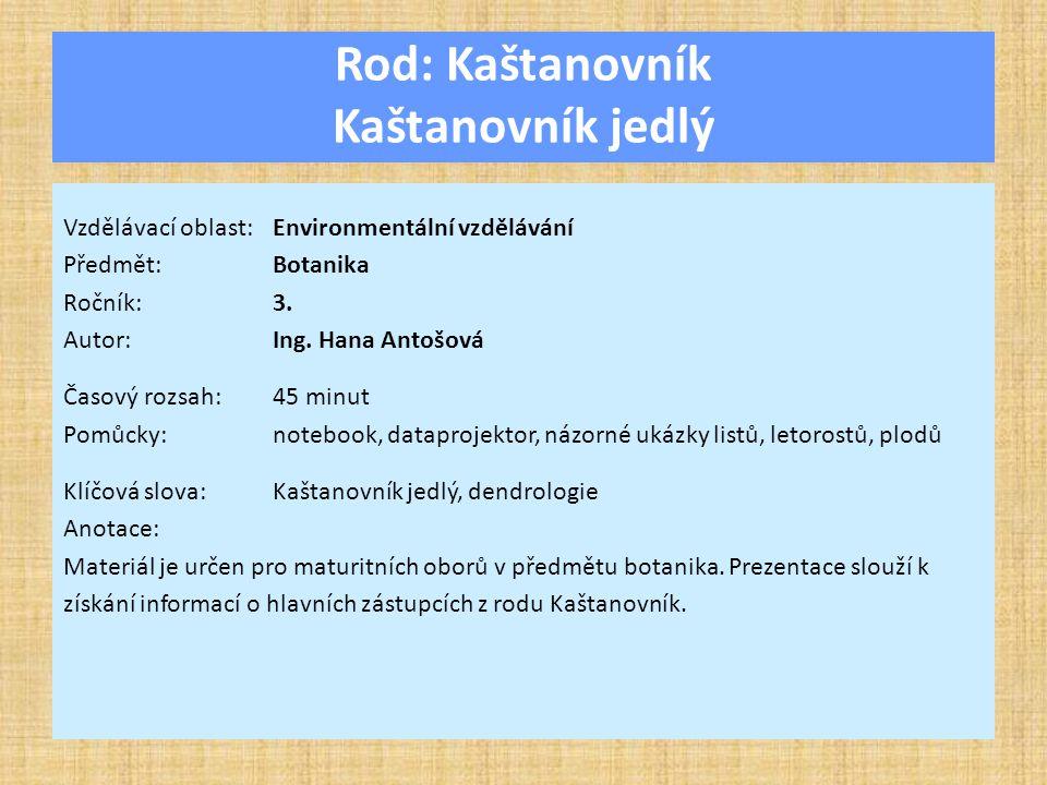 Rod: Kaštanovník Kaštanovník jedlý Vzdělávací oblast:Environmentální vzdělávání Předmět:Botanika Ročník:3.