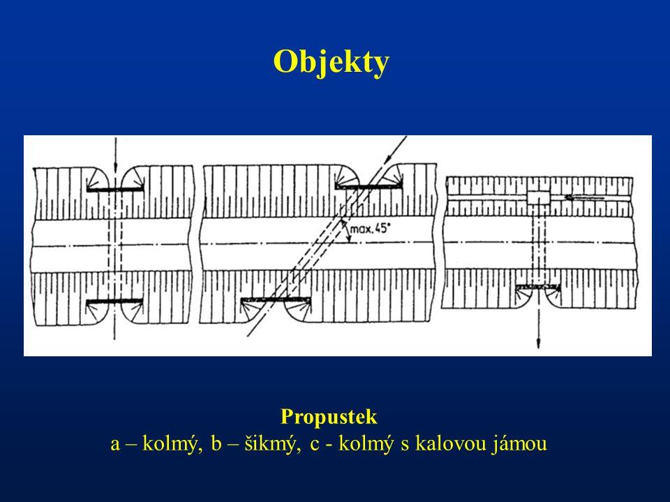 - Objekty Propustek a – kolmý, b – šikmý, c - kolmý s kalovou jámou
