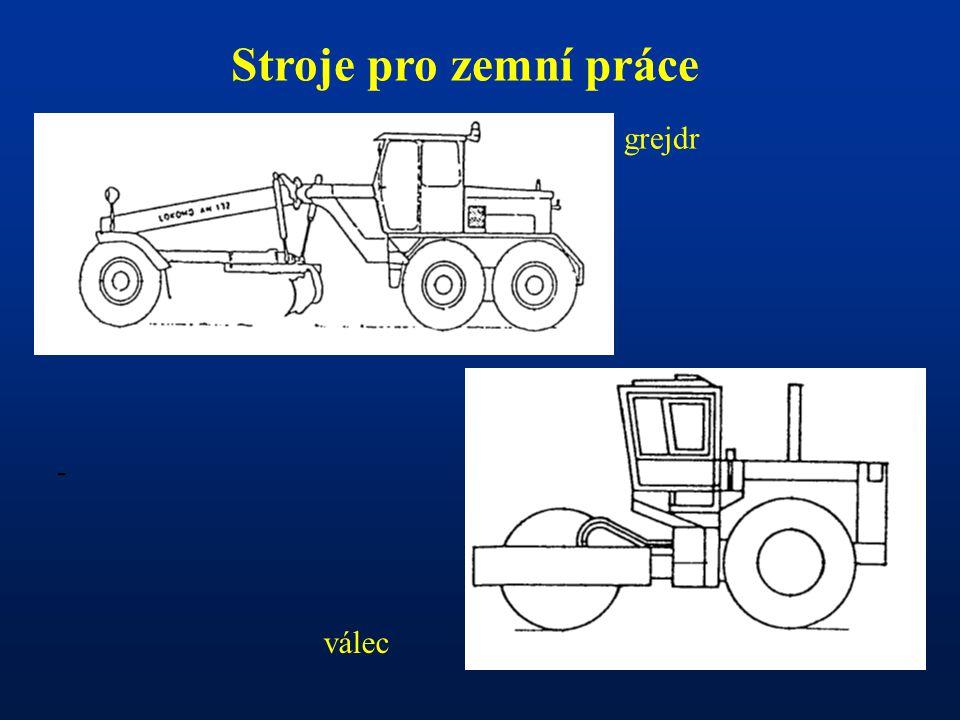 - Stroje pro zemní práce grejdr válec